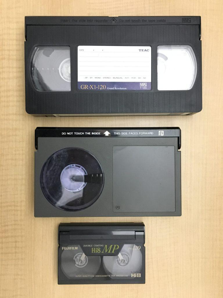 VHS ベータマックス 8ミリビデオのテープの写真